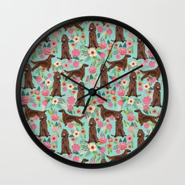 Irish Setter dog breed floral pattern gifts for dog lovers irish setters Wall Clock
