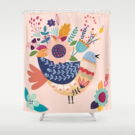 With Flowers On Her Feathers She Flies Freely Shower Curtain