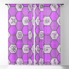 Mysterious Hexagons Sheer Curtain