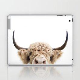 Peeking Highland Cow Laptop & iPad Skin