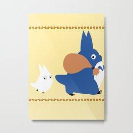 Chu and Chibi Totoro Metal Print