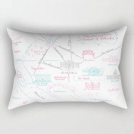 Washington, DC Illustrated Calligraphy Map Rectangular Pillow
