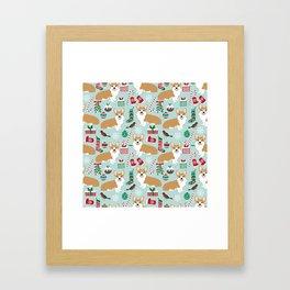 Welsh Corgi christmas holiday fabric festive pattern print by pet friendly dog breeds Framed Art Print