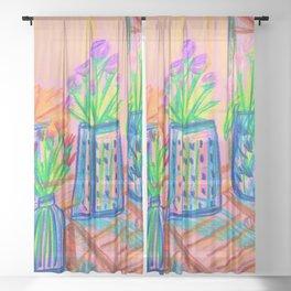 Flowers at Dawn Sheer Curtain