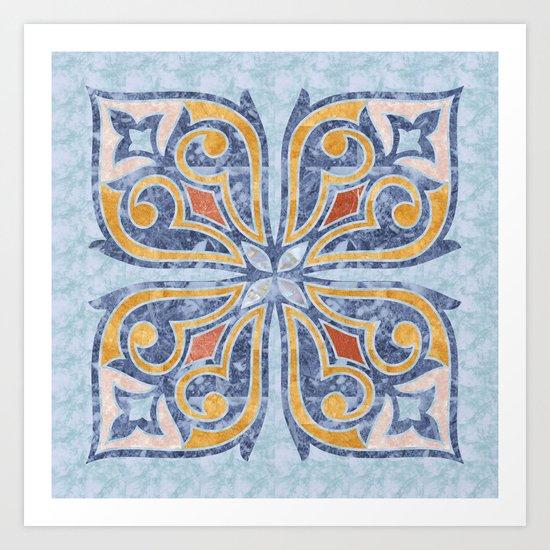 Blue Oriental Tile 04 Art Print
