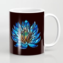 Multi Eyed Blue Water Lily Flower Coffee Mug