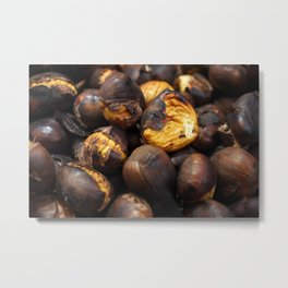 Food. Roasted chestnuts. Metal Print