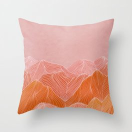 Lines in the mountains - pink II Throw Pillow