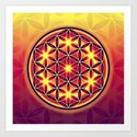 FLOWER OF LIFE batik style yellow red by eddarts