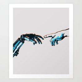 Creation of Man 2.0 Classic Michelangelo Robot Hand Art Print Art Print