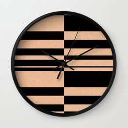 Abstract striped pattern. black and beige. Wall Clock