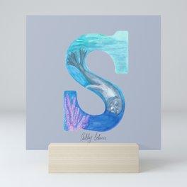 Illustrative Letter S for Sea Lion Mini Art Print