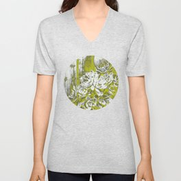 Chartreuse Green Hen and Chicks Unisex V-Neck