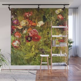 Classical Masterpiece 'A Bed of Poppies' by Maria Oakey Dewing Wall Mural