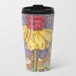 Lone Flower Metal Travel Mug