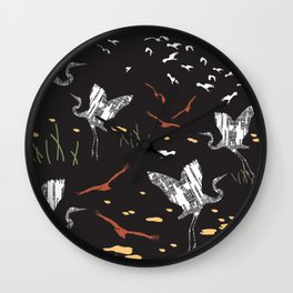 Flying Egrets With Black Background Wall Clock