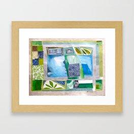 Blue-Green Quilt Framed Art Print