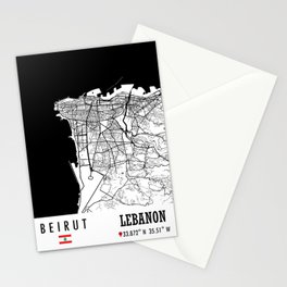 Beirut, LEBANON Road Map Art - Earth Tones Stationery Cards