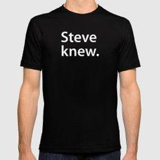 STEVE KNEW. Mens Fitted Tee Black MEDIUM