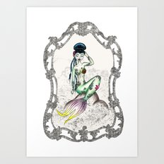 Green Mermaid Pin-up Art Print