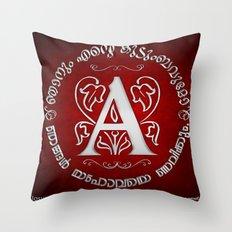 Joshua 24:15 - (Silver on Red) Monogram A Throw Pillow