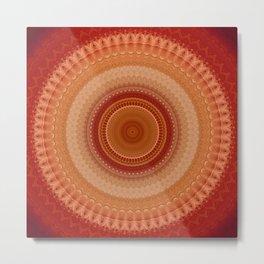 Vintage Orange Mandala Metal Print
