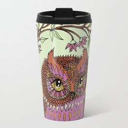 Small Pink Owlet With Wildflower Wreath Travel Mug