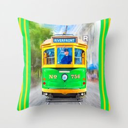 Vintage Streamline Streetcar - Savannah Riverfront Throw Pillow