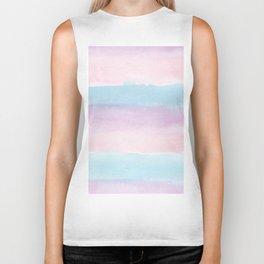 Modern blush pink teal color block watercolor brushstrokes stripes Biker Tank