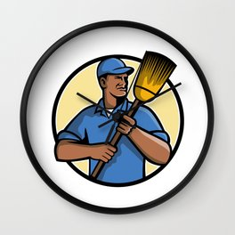 African American Street Sweeper or Cleaner Mascot Wall Clock