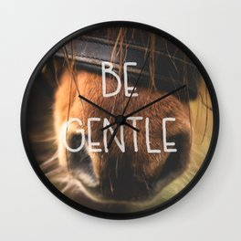 Horse Nose Closeup Be Gentle Typography Wall Clock