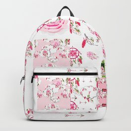 Shabby Chic Dream Catcher and feather Patchwork Backpack