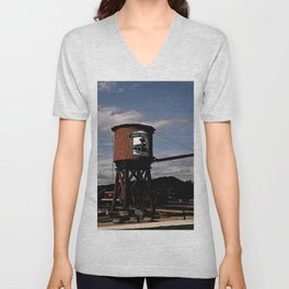 1880 Train Watertower Black Hills Abstract Unisex V-Neck