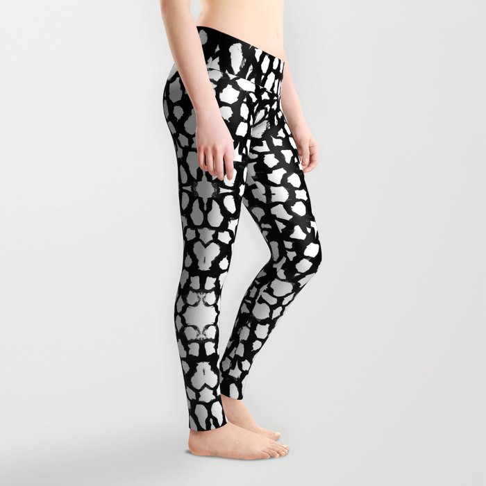 Rosanthe - modern minimal black and white painting brushstrokes free spirit boho urban city pattern Leggings