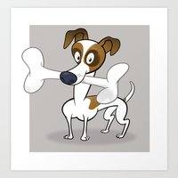 jack russell Art Prints featuring Jack Russell by drawgood