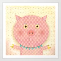 pooh Art Prints featuring Piggy Pooh by Silva Ware by Walter Silva