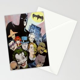 Bat man, Superhero , retro, Joker, painting, comic,  Stationery Cards