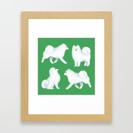 Samoyed Pattern (Green Background) Framed Art Print