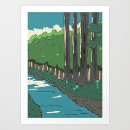 japanese river landscape Art Print
