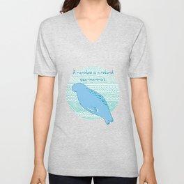 Manatees are Rotund Sea-Mammals Unisex V-Neck