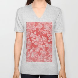 Living coral pink watercolor country chic floral Unisex V-Neck