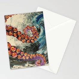 Octopus wave Stationery Cards