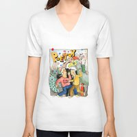 poetry V-neck T-shirts featuring Poetry Party by Bruce Zeines