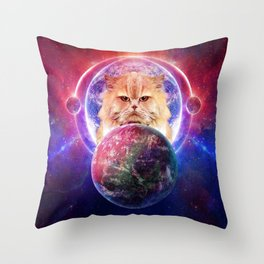 King Cat Galaxy Throw Pillow