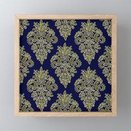 Damask Dark Navy Vintage Pattern Framed Mini Art Print