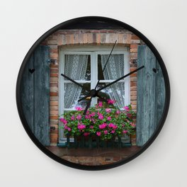 Window and Flowers Wall Clock