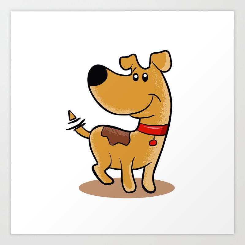 Happy Dog Cartoon Adopt A Pet Dog Sketch Art Print By Marios Society6