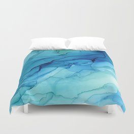 Emerald Sea Waves - Abstract Ombre Flowing Ink Duvet Cover