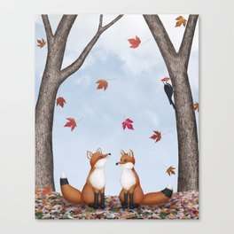 foxes, falling leaves, & pileated woodpecker Canvas Print