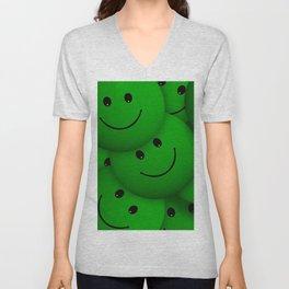green Smileys Unisex V-Neck